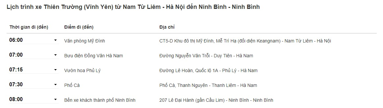 Xe Thiên Trường Hà Nội đi Ninh Bình