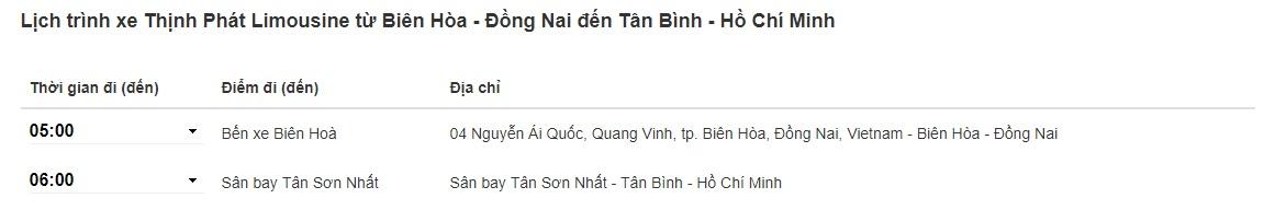 Xe Thịnh Phát limousine Biên Hòa đi Sân bay Tân Sơn Nhất