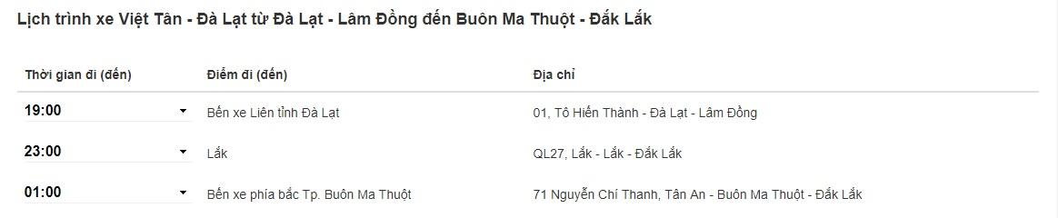 Xe Việt Tân Đà Lạt đi Buôn Ma Thuột