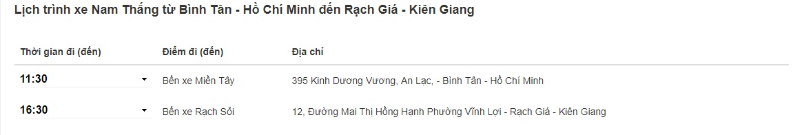 Xe Nam Thắng Sài Gòn đi Kiên Giang